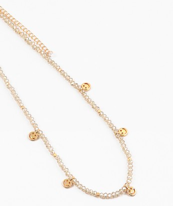 Beaded Gold Smile Necklace