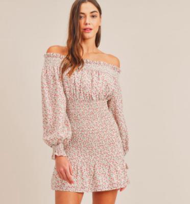 Smocked Off-the-Shoulder Floral Mini Dress