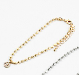 Gold Ball Smiley Face Anklet