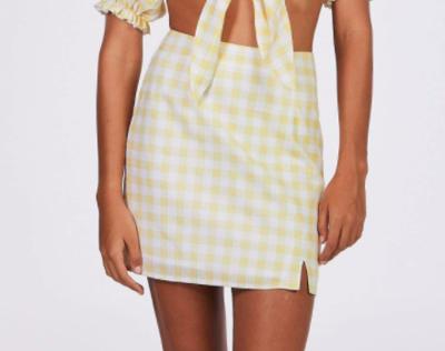 Yellow Gingham Mini Skirt