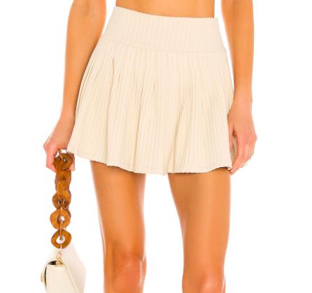 Beige Wide Rib Tennis Skirt