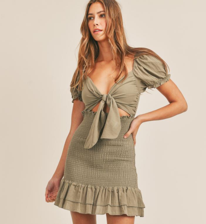 Top-Tie Smocked Dress