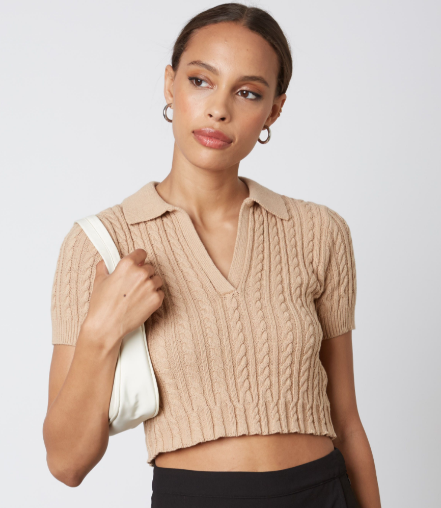 Cable Short-Sleeve Sweater Top