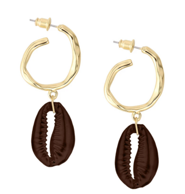 Hammered Hoop Shell Drops Earrings