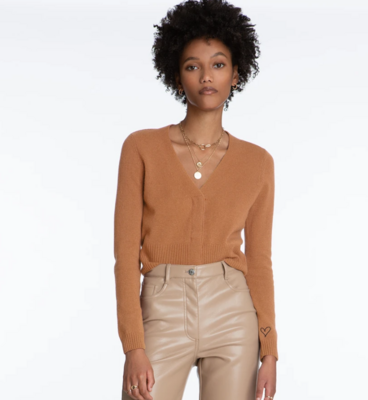 Cashmere Cropped Snap Cardigan