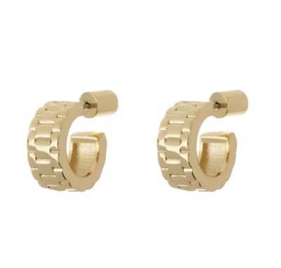 Antique Gold Mini Timepiece Hoops