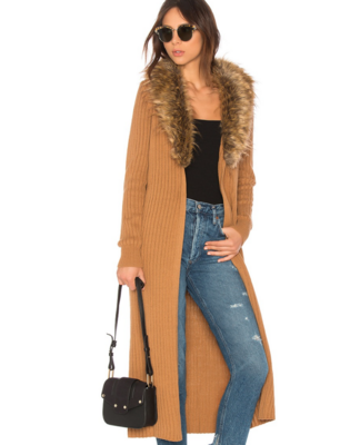 Lombardi Long Cardigan With Faux Fur