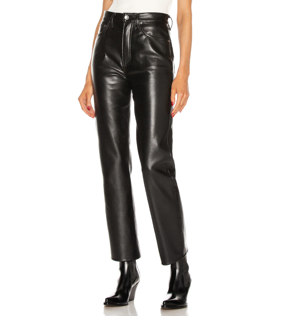 Recycled Leather Pinch Waist Jean