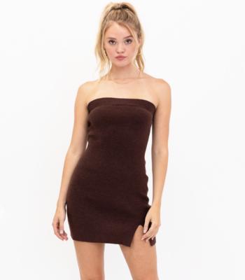 Knit Tube Mini Dress With Slit