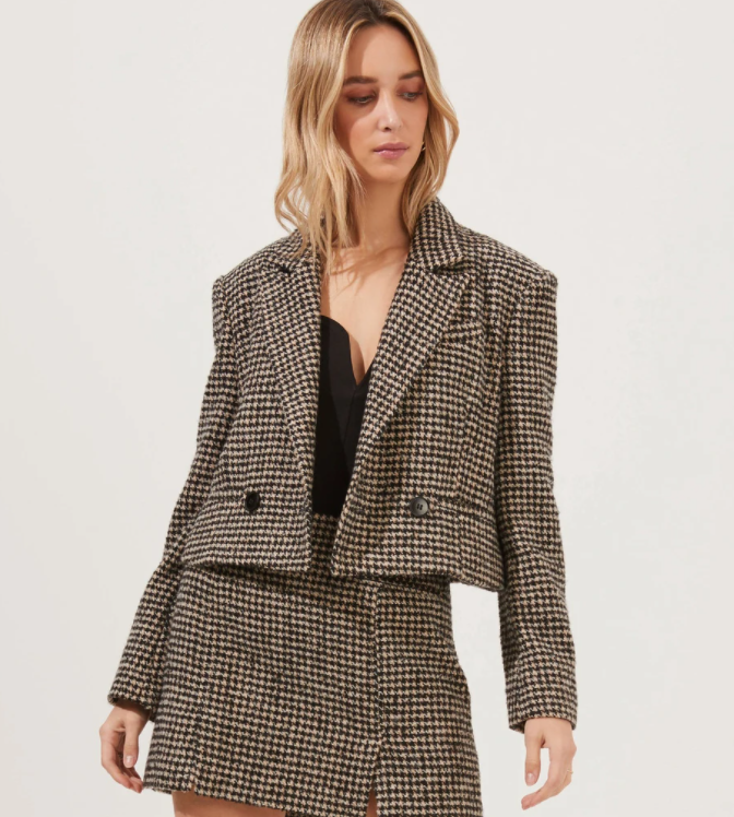 Christa Cropped Plaid Jacket
