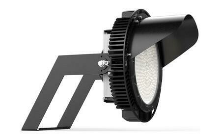 LED Sport Light 96000lm 160lpw 600W 5000K 0-10V DIM 277-480V Glass Lens Black