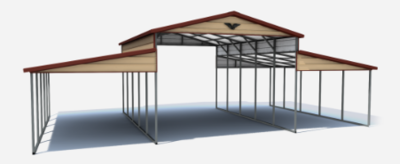 Vertical Roof Style Metal Horse Barn