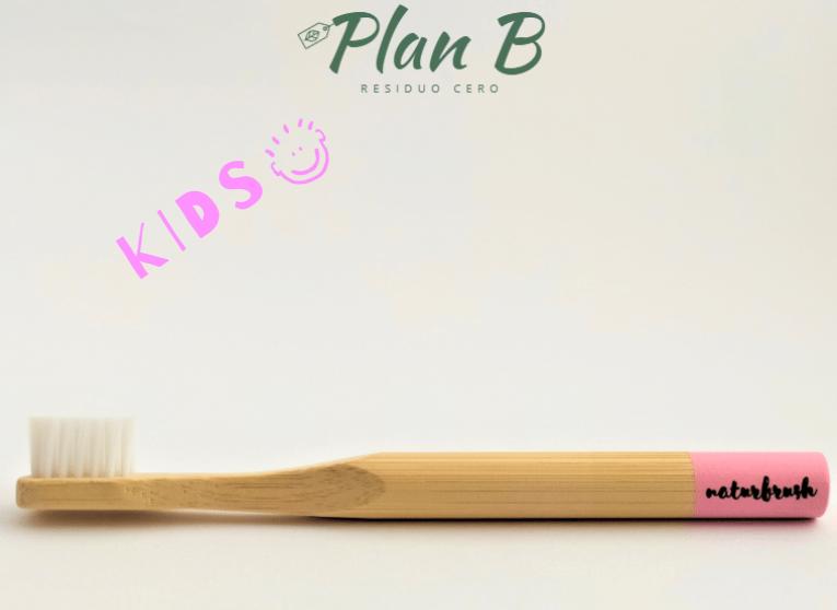 Cepillo de dientes Infantil de bambú - Rosa