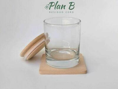 Vaso de Vidrio con Tapa de Madera