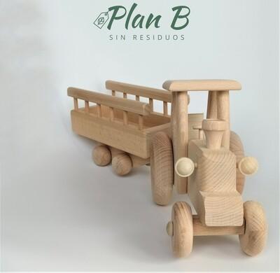 Tractor con remolque - Juguete de Madera Natural