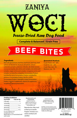 Zaniya Woci Beef Bites 16oz Dog Food Stand Up Pouch