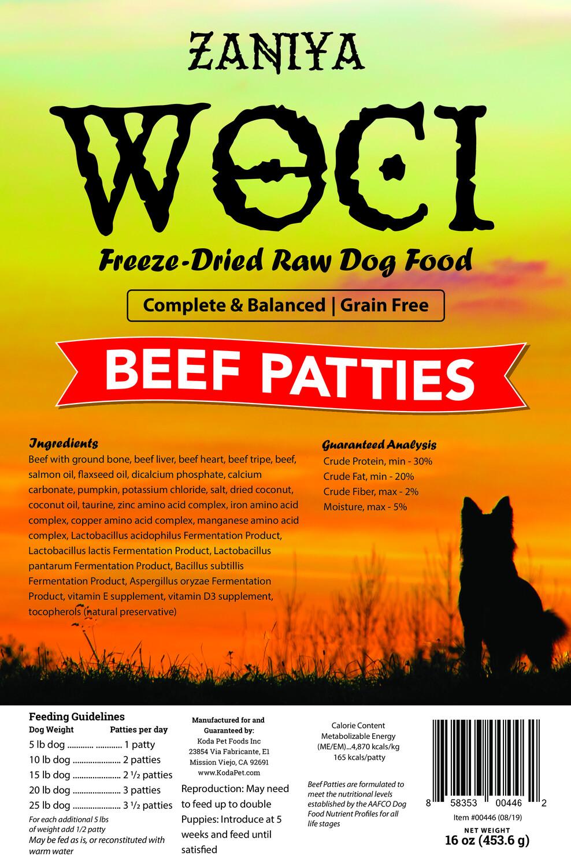 Zaniya Woci Beef Patties 16oz Dog Food Stand Up Pouch