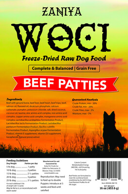 Zaniya Woci Beef Patties 16oz Dog Food Stand Up Pouch