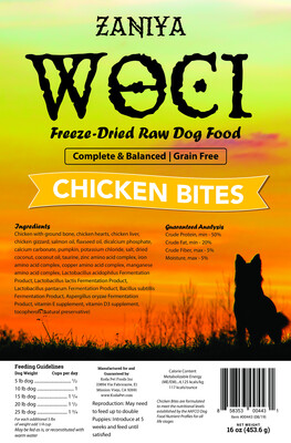 Zaniya Woci Chicken Bites 16oz Dog Food Stand Up Pouch