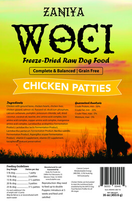 Zaniya Woci Chicken Patties 16oz Dog Food Stand Up Pouch