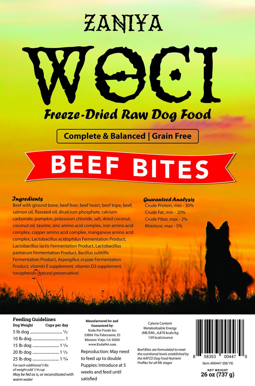 Zaniya Woci Beef Bites 26oz Dog Food Stand Up Pouch