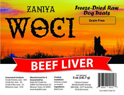 Zaniya Woci Beef Liver Treat 5oz Stand Up Pouch