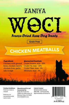 Zaniya Woci Chicken Meatball Treat 16oz Stand Up Pouch