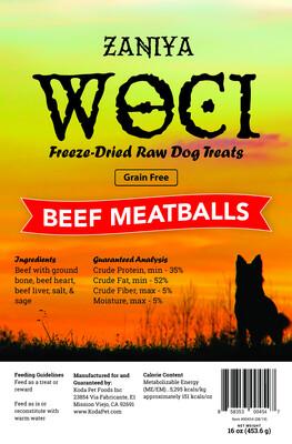 Zaniya Woci Beef Meatball Treat 16oz Stand Up Pouch