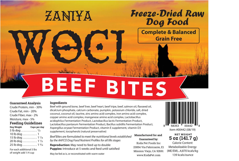 Zaniya Woci Beef Bites 5oz Dog Food Stand Up Pouch