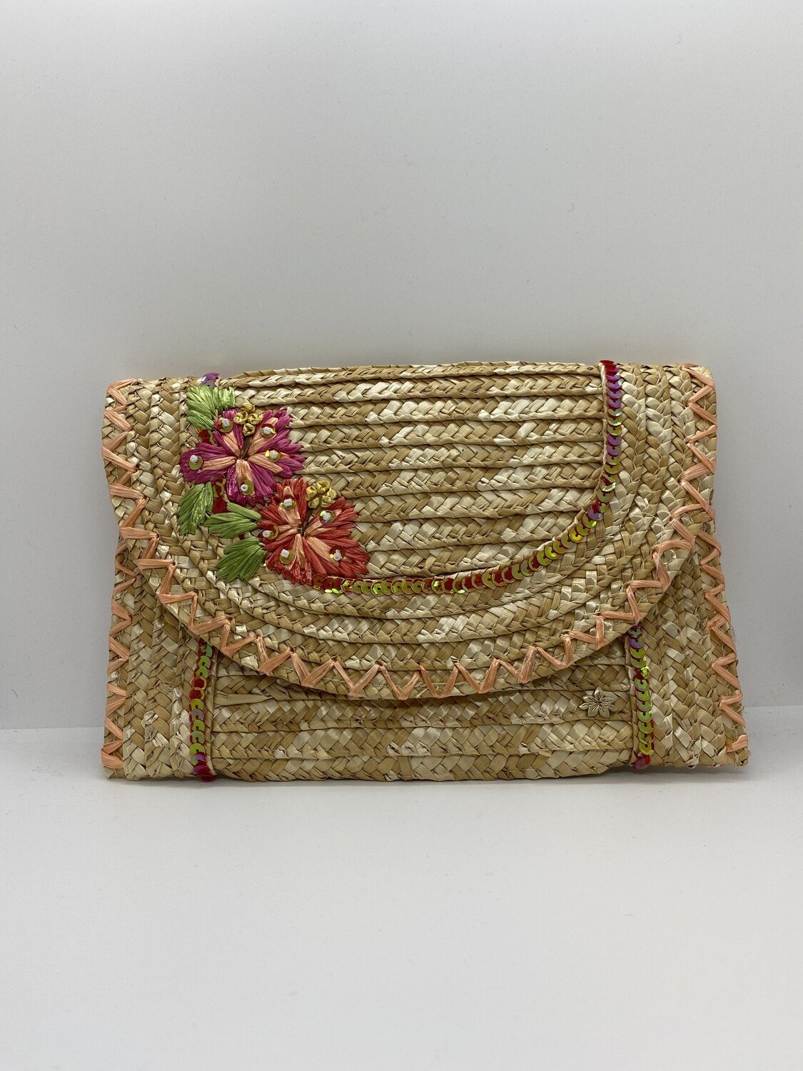Straw Clutch with Hibiscus