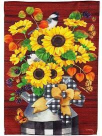 Sunflower Milk Can Garden Textured Flag