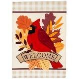 Autumn Cardinal Garden Flag