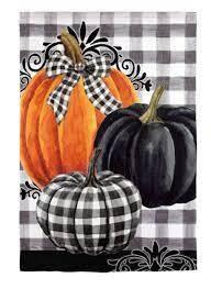 Pumpkin Check Garden Flag