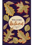 Autumn Burlap Leaves Garden Flag
