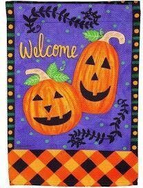 Happy Pumpkins and Checks Garden Flag