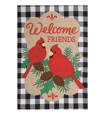 Applique Welcome Cardinals Flag