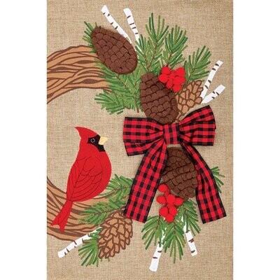 Burlap Cardinal Wreath Flag