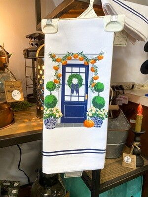 Halloween Front Door Tea Towel