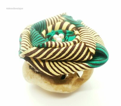 African wax green, cream and brown rose flower with pearl centre   flower pin   flower hair clip   flower brooch   clothing accessories