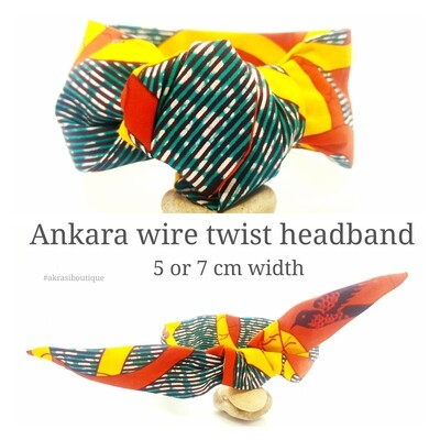 African wax print green, yellow and orange wire twist hair wrap | African print wire hair tie | Ankara print headtie | headwrap