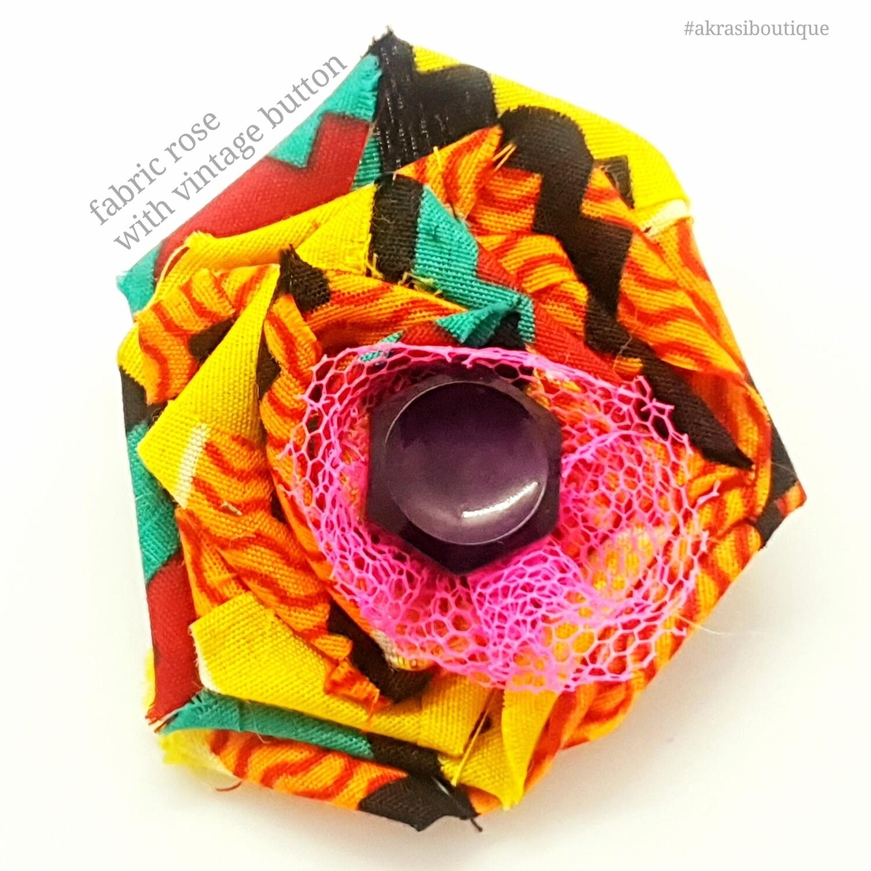 African wax print kente flower with button centre | fabric flower | flower pin | flower hair clip | flower brooch | clothing accessories