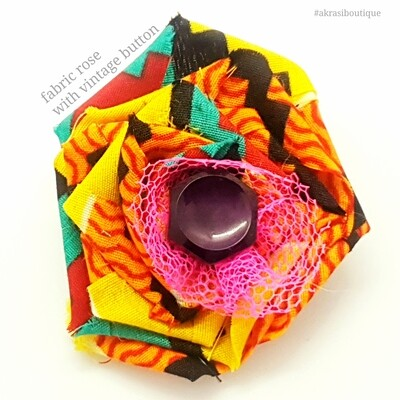 African wax print kente flower with button centre | fabric flower | flower pin | flower hair clip | flower brooch | clothing accessories
