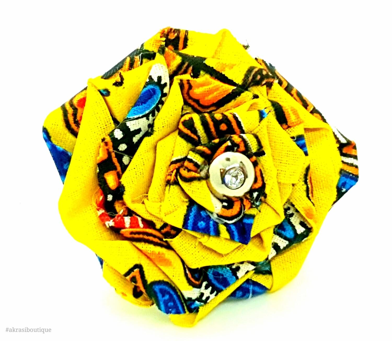 Dashiki fabric rose flower with gemstone button centre | flower pin | flower hair clip | flower brooch | clothing accessories
