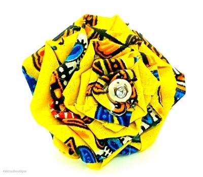 Dashiki fabric rose flower with gemstone button centre   flower pin   flower hair clip   flower brooch   clothing accessories