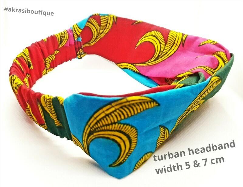 African wax print elasticated hair wrap   turban   turban headband   African print headwrap   Ankara print turban   hair tie