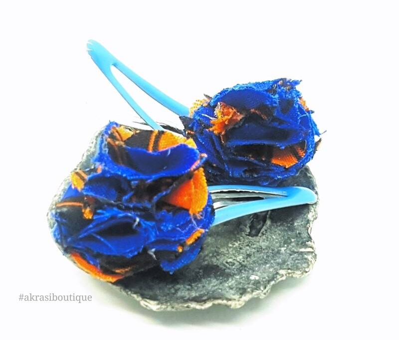 African wax print ruffle flower snap clips | Blue and orange Ankara hair clip | hair accessories