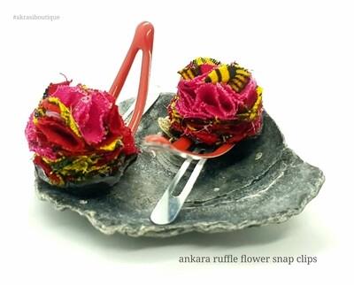 African wax print ruffle flower snap clips | Ankara hair clip | hair accessories