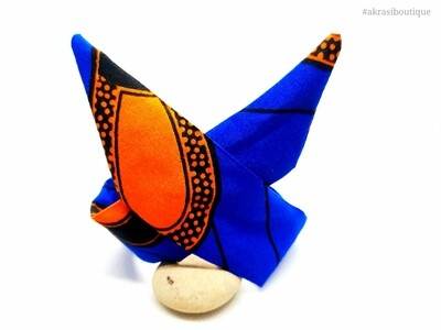 African print blue and orange handmade wire twist bun tie | African print bun wrap | Ankara print headtie | wire hair tie