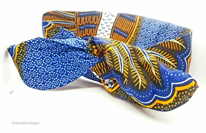 African print blue, orange and white knotted hair tie   knot tie headband   African print headwrap   Ankara print   headtie   hair tie