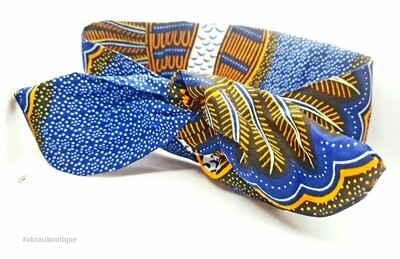 African print blue, orange and white knotted hair tie | knot tie headband | African print headwrap | Ankara print | headtie | hair tie